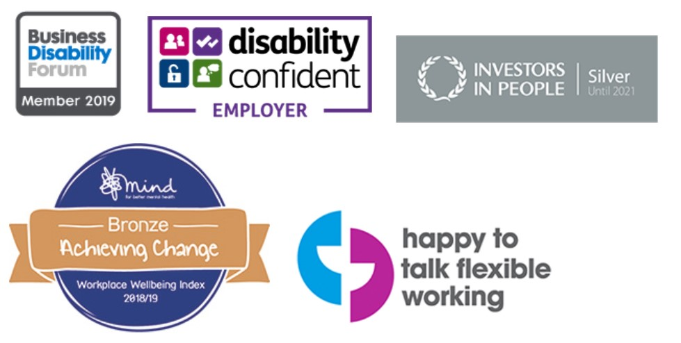 Investors in People logo, Mind Bronze award logo, Disability Confident Employer logo