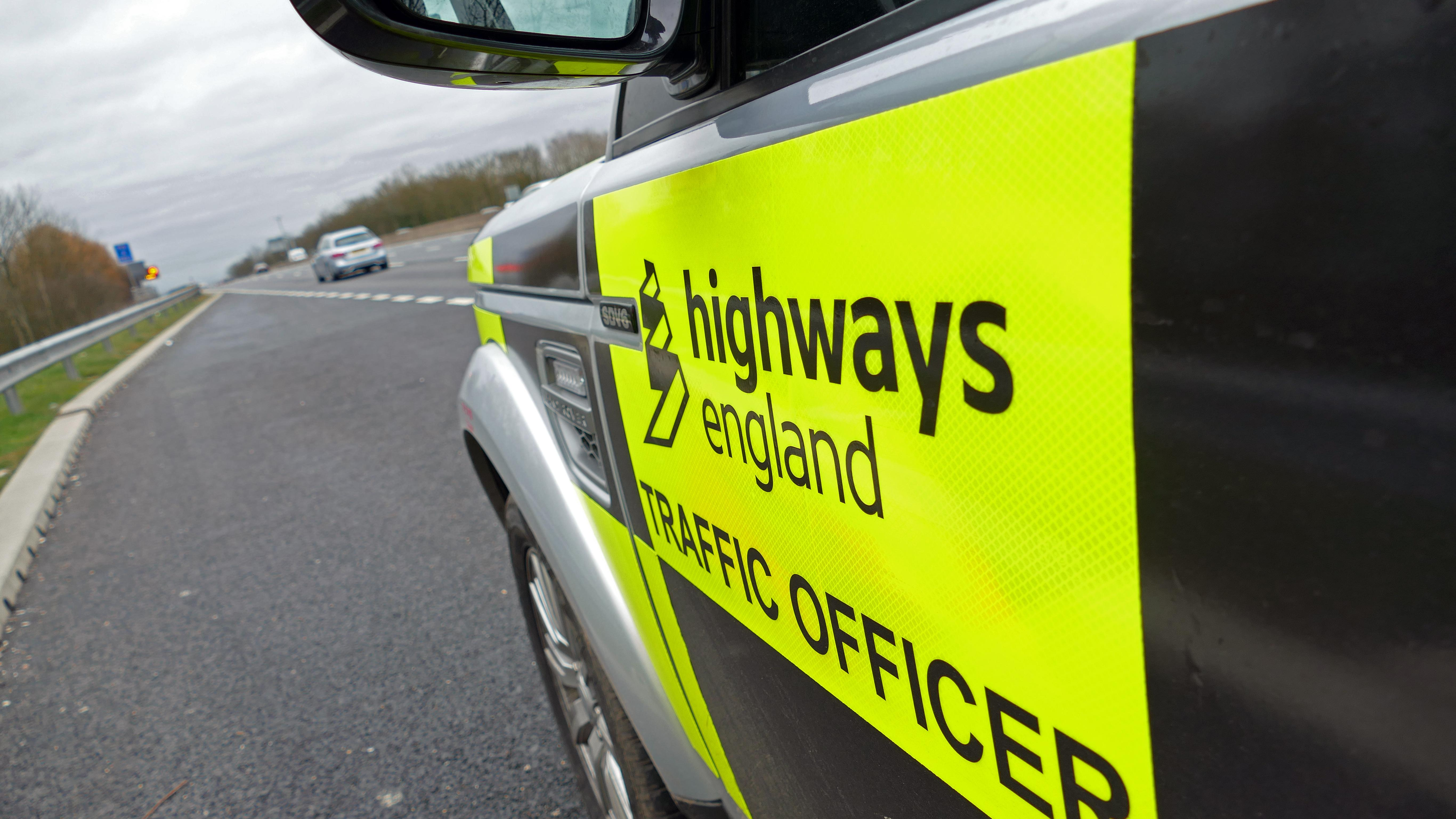 An image of a Highways England traffic officer's car